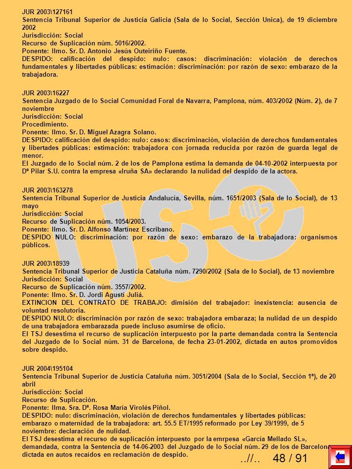 JUR 2003\127161 Sentencia Tribunal Superior de Justicia Galicia (Sala de lo Social, Sección Unica), de 19 diciembre 2002 Jurisdicción: Social Recurso