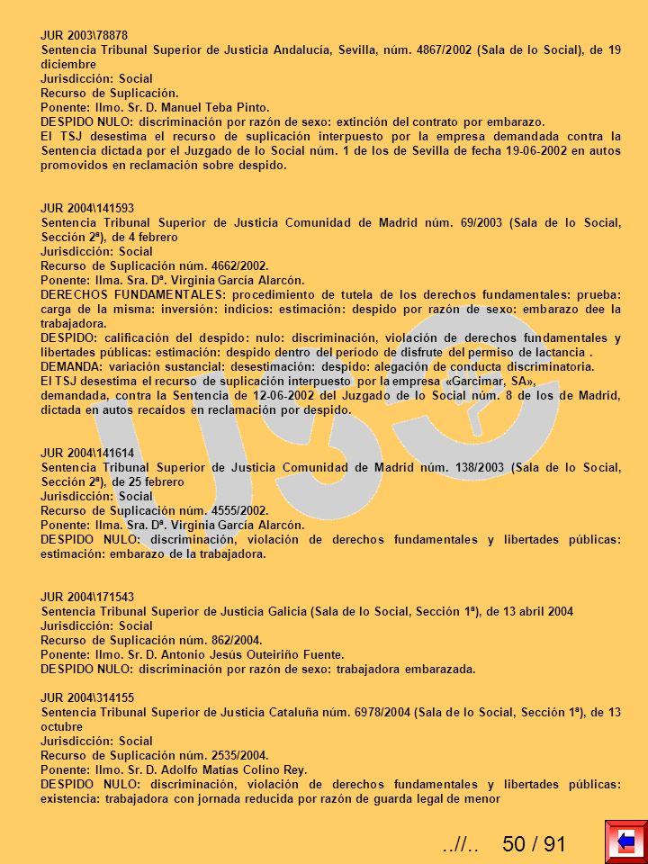 JUR 2003\78878 Sentencia Tribunal Superior de Justicia Andalucía, Sevilla, núm. 4867/2002 (Sala de lo Social), de 19 diciembre Jurisdicción: Social Re