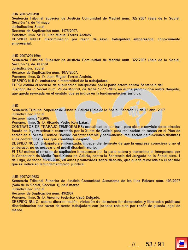 JUR 2007\200498 Sentencia Tribunal Superior de Justicia Comunidad de Madrid núm. 327/2007 (Sala de lo Social, Sección 1), de 14 mayo Jurisdicción: Soc