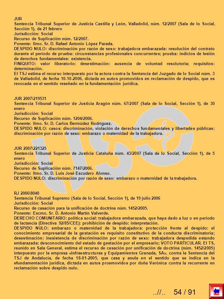 JUR Sentencia Tribunal Superior de Justicia Castilla y León, Valladolid, núm. 12/2007 (Sala de lo Social, Sección 1), de 21 febrero Jurisdicción: Soci