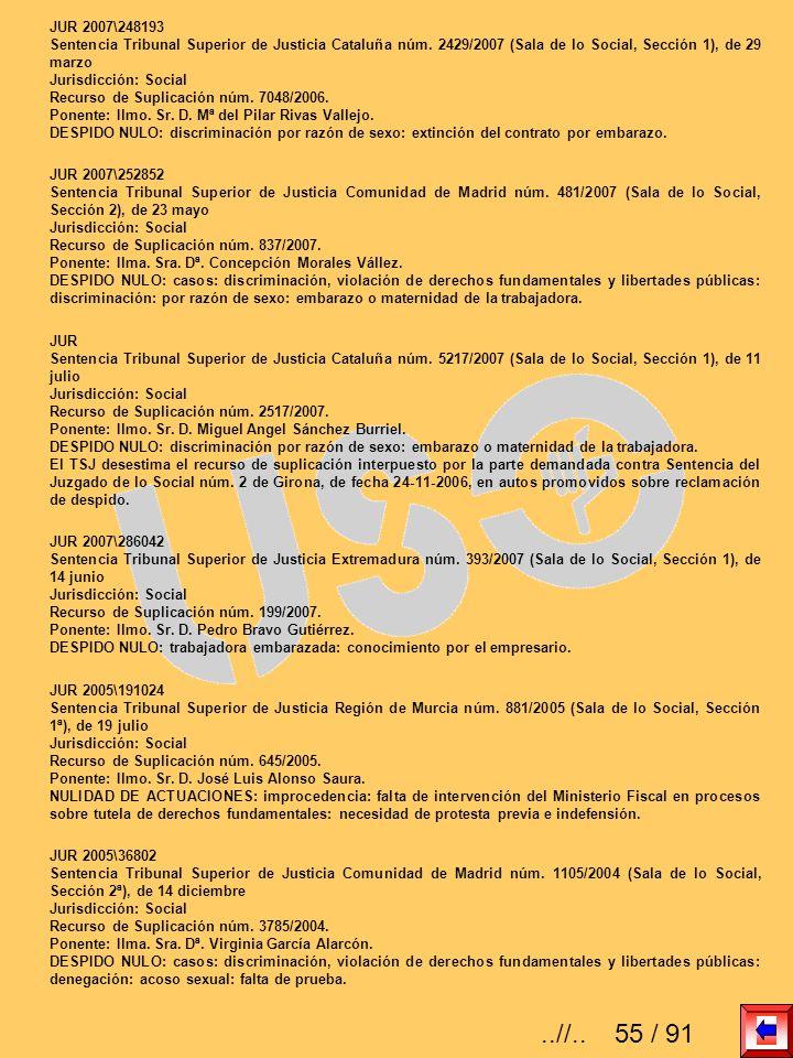 JUR 2007\248193 Sentencia Tribunal Superior de Justicia Cataluña núm. 2429/2007 (Sala de lo Social, Sección 1), de 29 marzo Jurisdicción: Social Recur