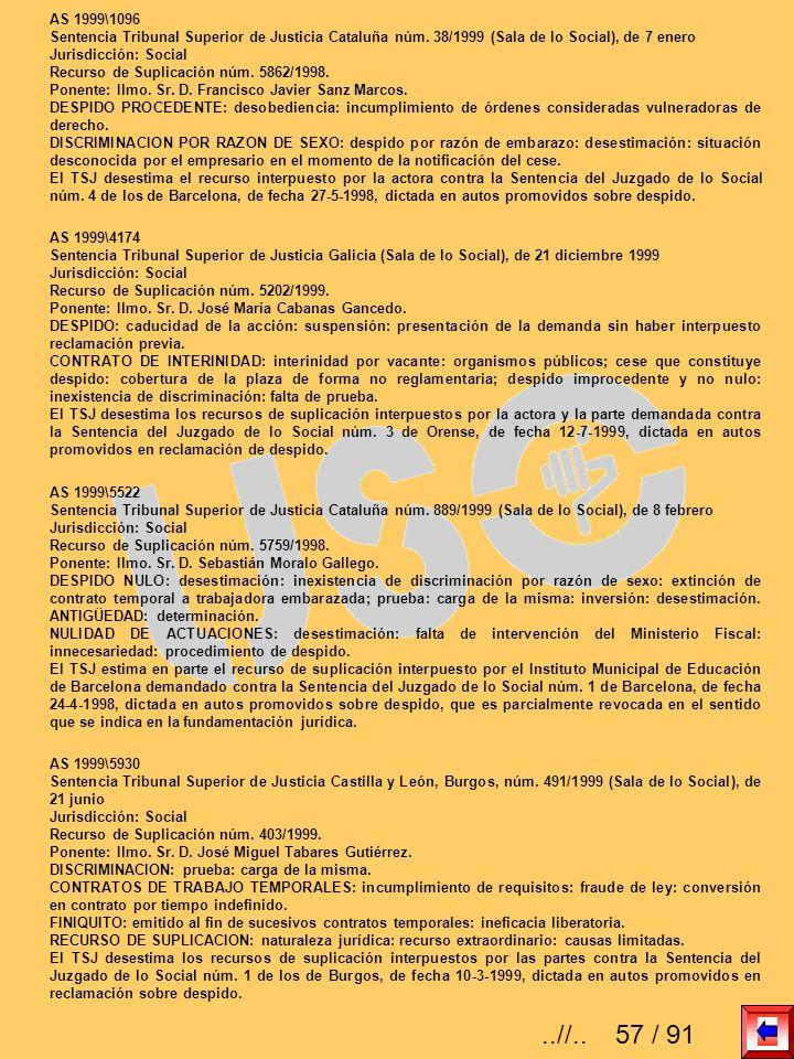 AS 1999\1096 Sentencia Tribunal Superior de Justicia Cataluña núm. 38/1999 (Sala de lo Social), de 7 enero Jurisdicción: Social Recurso de Suplicación