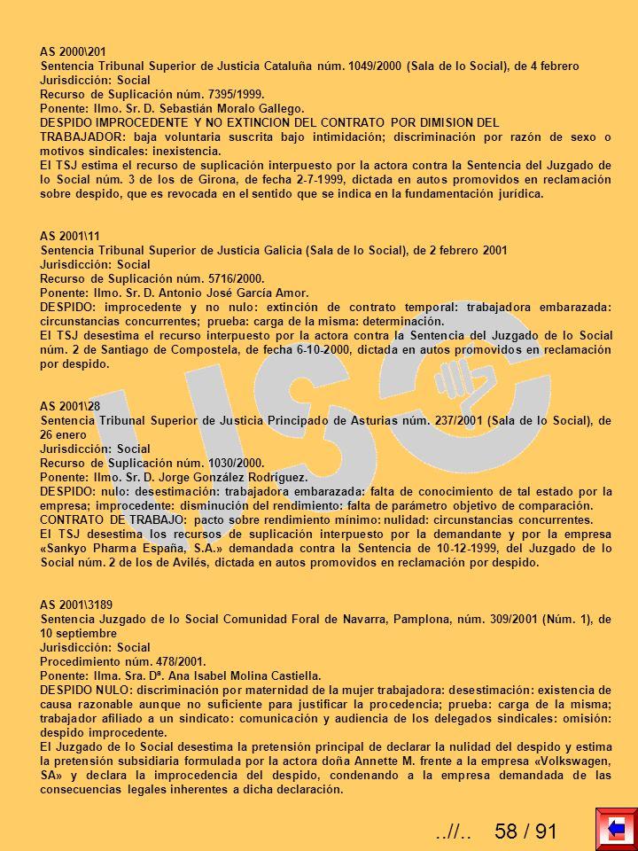 AS 2000\201 Sentencia Tribunal Superior de Justicia Cataluña núm. 1049/2000 (Sala de lo Social), de 4 febrero Jurisdicción: Social Recurso de Suplicac