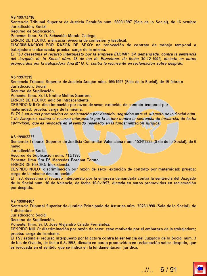 AS 1997\3716 Sentencia Tribunal Superior de Justicia Cataluña núm. 6600/1997 (Sala de lo Social), de 16 octubre Jurisdicción: Social Recurso de Suplic