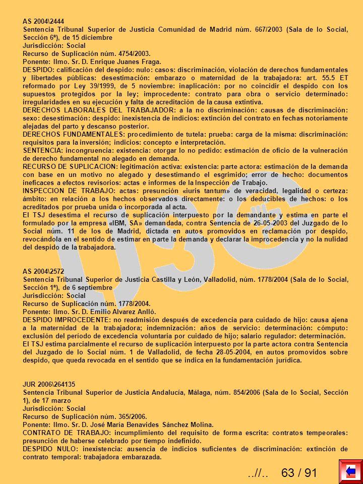 AS 2004\2444 Sentencia Tribunal Superior de Justicia Comunidad de Madrid núm. 667/2003 (Sala de lo Social, Sección 6ª), de 15 diciembre Jurisdicción: