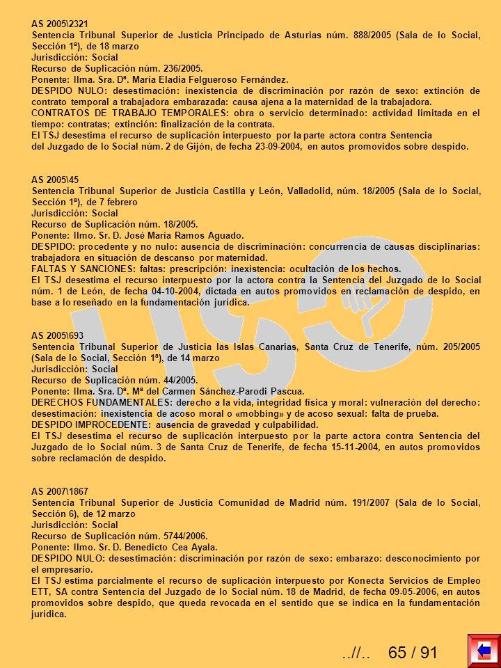 AS 2005\2321 Sentencia Tribunal Superior de Justicia Principado de Asturias núm. 888/2005 (Sala de lo Social, Sección 1ª), de 18 marzo Jurisdicción: S