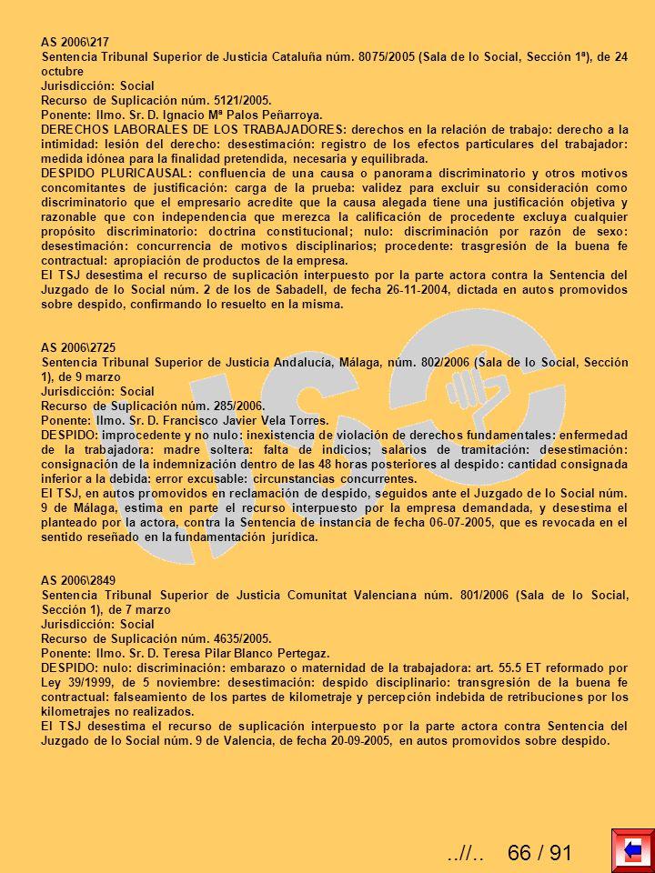 AS 2006\217 Sentencia Tribunal Superior de Justicia Cataluña núm. 8075/2005 (Sala de lo Social, Sección 1ª), de 24 octubre Jurisdicción: Social Recurs