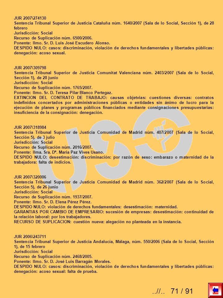 JUR 2007\274130 Sentencia Tribunal Superior de Justicia Cataluña núm. 1640/2007 (Sala de lo Social, Sección 1), de 28 febrero Jurisdicción: Social Rec