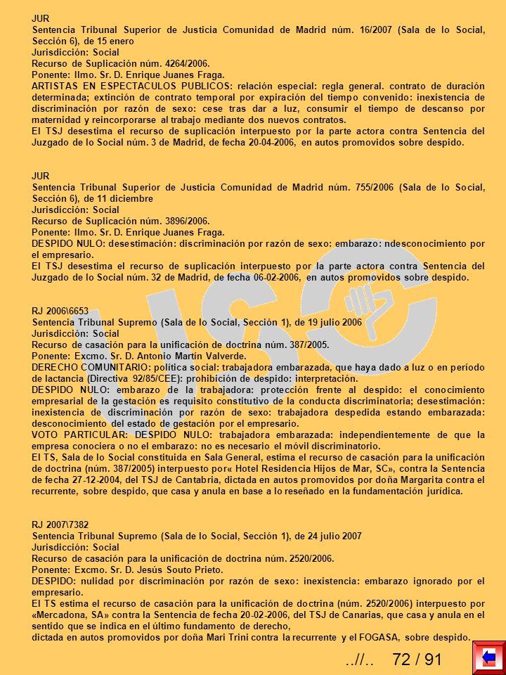 JUR Sentencia Tribunal Superior de Justicia Comunidad de Madrid núm. 16/2007 (Sala de lo Social, Sección 6), de 15 enero Jurisdicción: Social Recurso