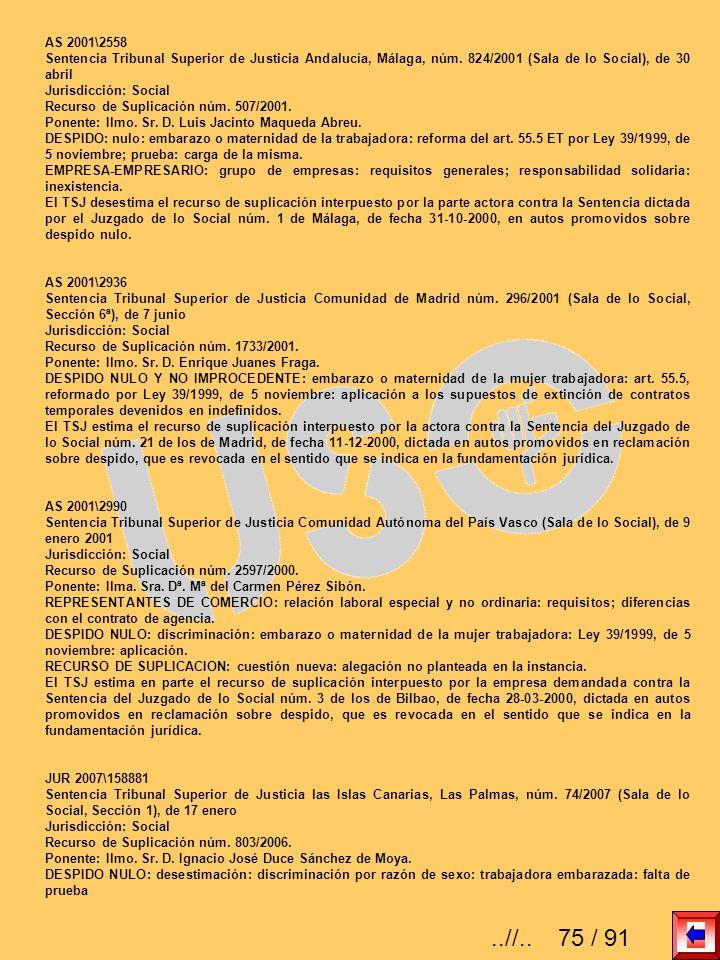 AS 2001\2558 Sentencia Tribunal Superior de Justicia Andalucía, Málaga, núm. 824/2001 (Sala de lo Social), de 30 abril Jurisdicción: Social Recurso de