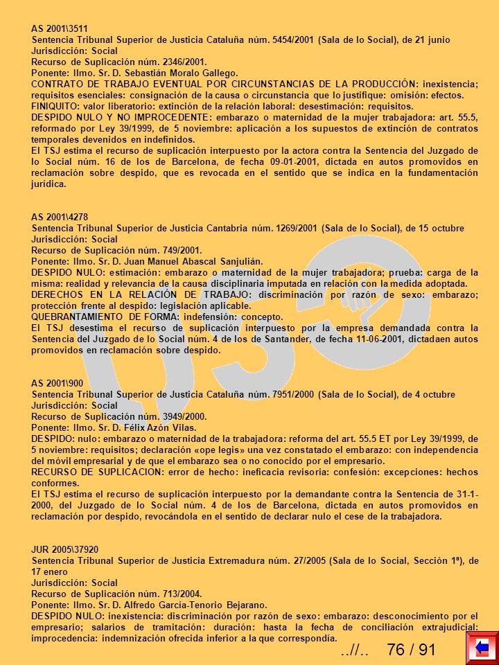 AS 2001\3511 Sentencia Tribunal Superior de Justicia Cataluña núm. 5454/2001 (Sala de lo Social), de 21 junio Jurisdicción: Social Recurso de Suplicac