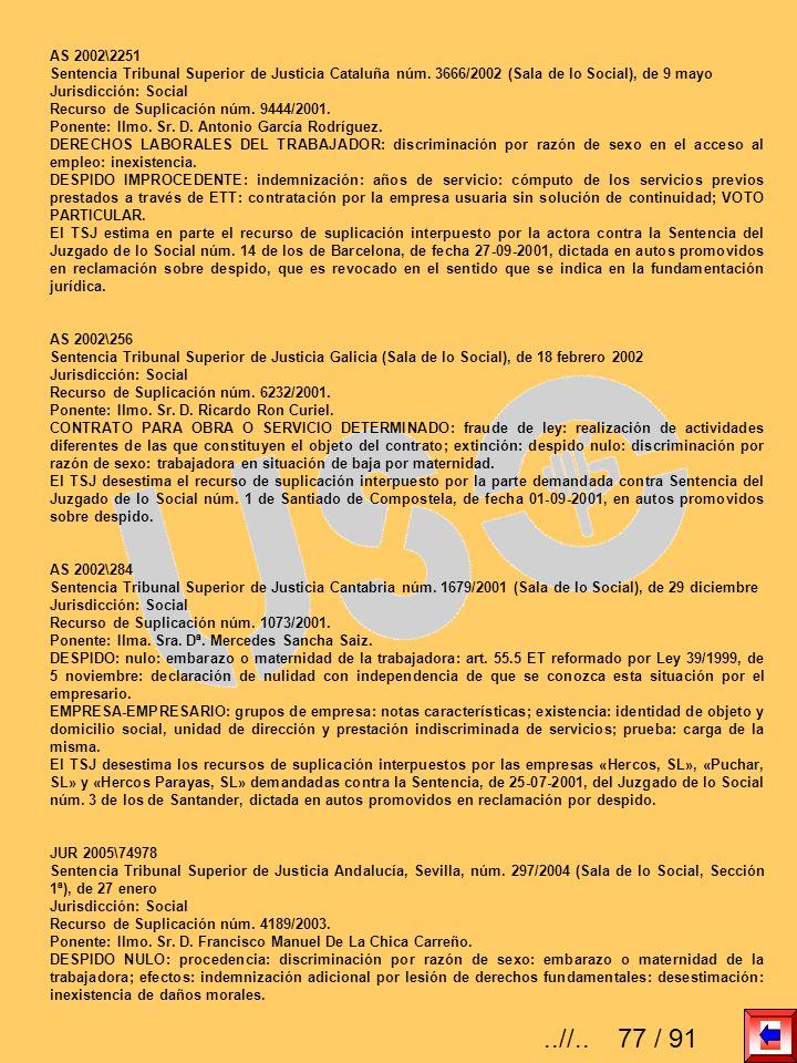 AS 2002\2251 Sentencia Tribunal Superior de Justicia Cataluña núm. 3666/2002 (Sala de lo Social), de 9 mayo Jurisdicción: Social Recurso de Suplicació
