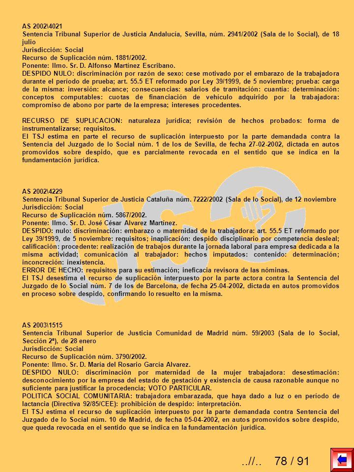 AS 2002\4021 Sentencia Tribunal Superior de Justicia Andalucía, Sevilla, núm. 2941/2002 (Sala de lo Social), de 18 julio Jurisdicción: Social Recurso