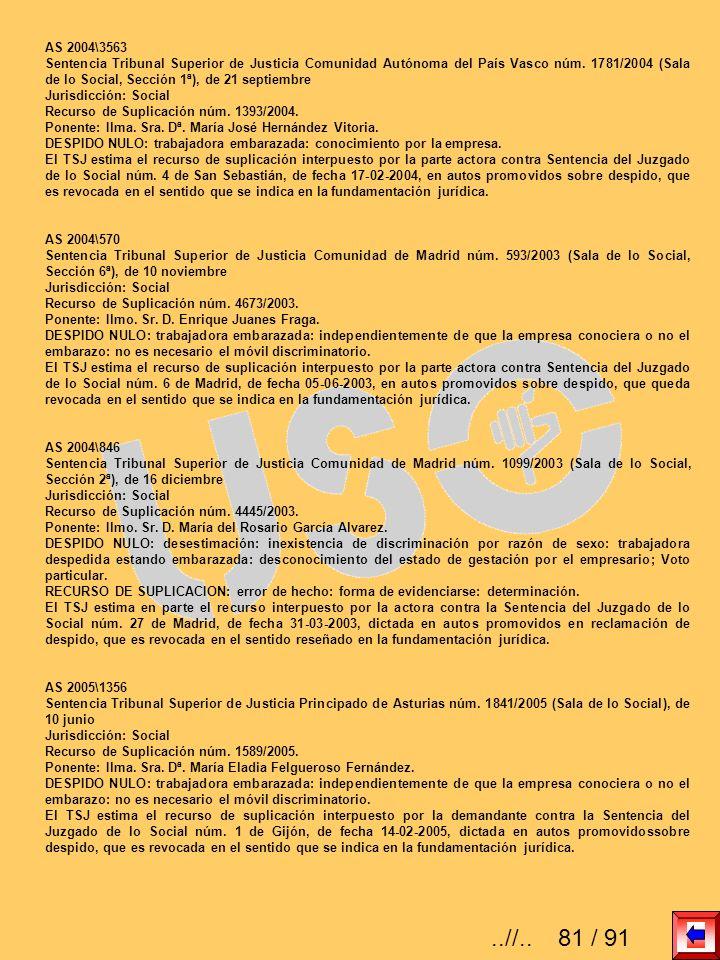 AS 2004\3563 Sentencia Tribunal Superior de Justicia Comunidad Autónoma del País Vasco núm. 1781/2004 (Sala de lo Social, Sección 1ª), de 21 septiembr