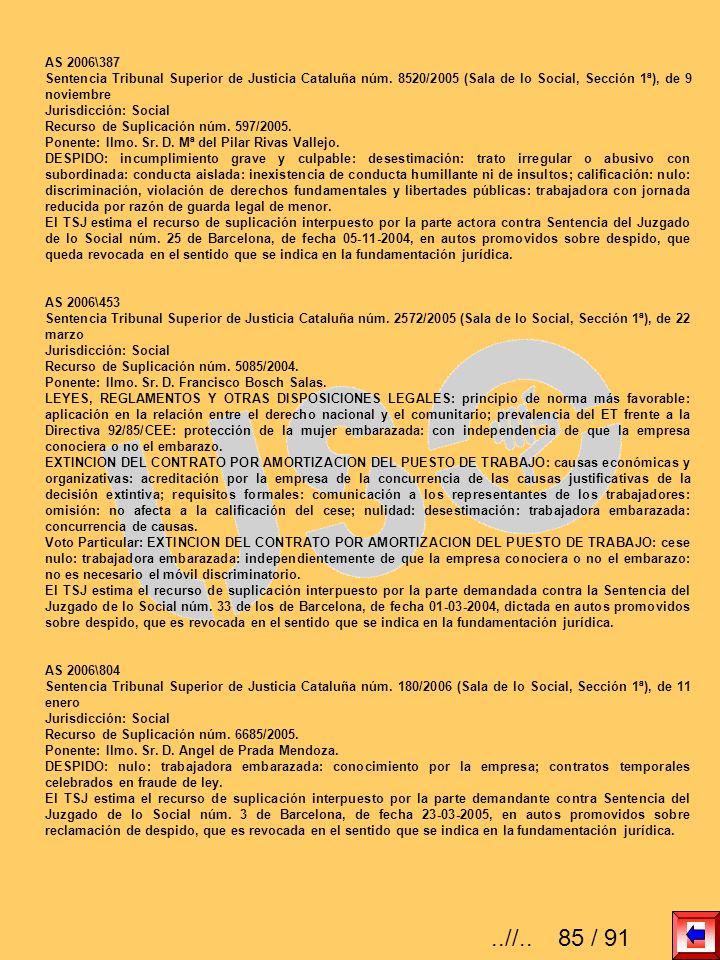 AS 2006\387 Sentencia Tribunal Superior de Justicia Cataluña núm. 8520/2005 (Sala de lo Social, Sección 1ª), de 9 noviembre Jurisdicción: Social Recur