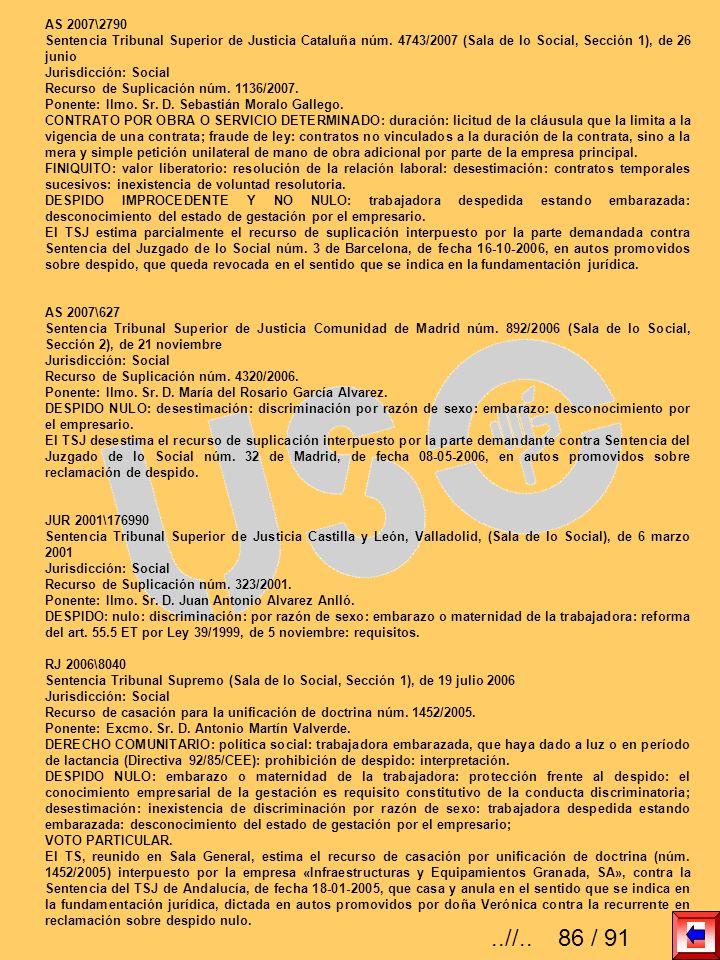 AS 2007\2790 Sentencia Tribunal Superior de Justicia Cataluña núm. 4743/2007 (Sala de lo Social, Sección 1), de 26 junio Jurisdicción: Social Recurso