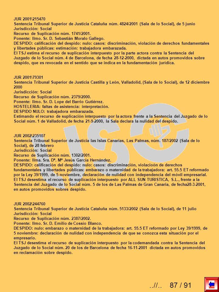 JUR 2001\215470 Sentencia Tribunal Superior de Justicia Cataluña núm. 4824/2001 (Sala de lo Social), de 5 junio Jurisdicción: Social Recurso de Suplic