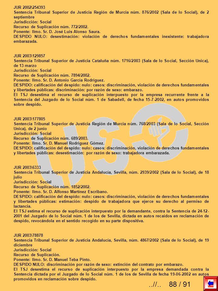 JUR 2002\254393 Sentencia Tribunal Superior de Justicia Región de Murcia núm. 876/2002 (Sala de lo Social), de 2 septiembre Jurisdicción: Social Recur