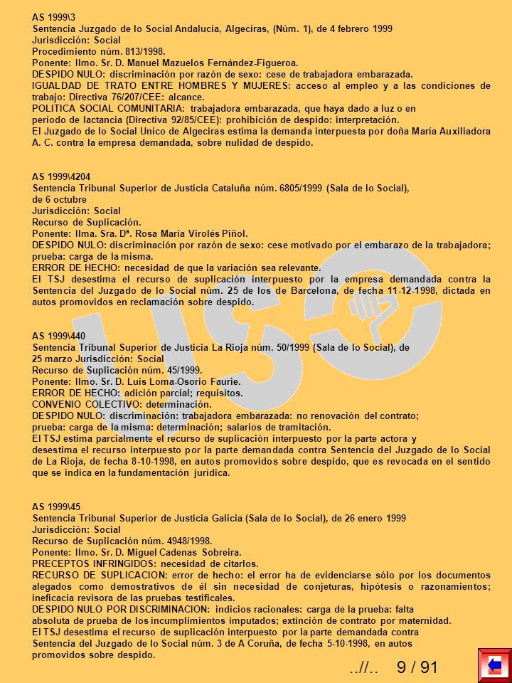 AS 1999\3 Sentencia Juzgado de lo Social Andalucía, Algeciras, (Núm. 1), de 4 febrero 1999 Jurisdicción: Social Procedimiento núm. 813/1998. Ponente: