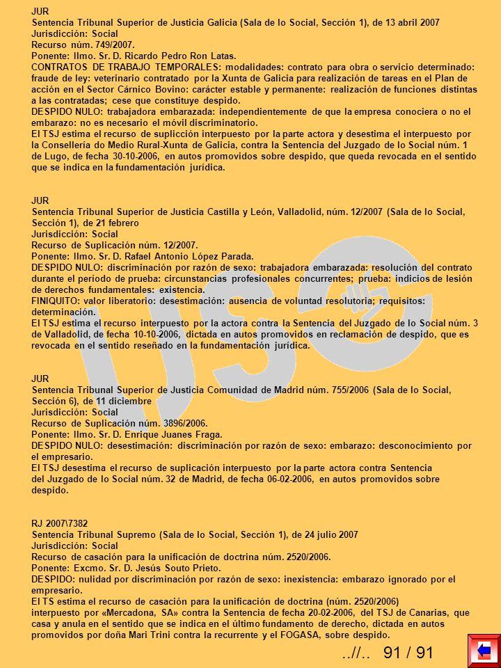 JUR Sentencia Tribunal Superior de Justicia Galicia (Sala de lo Social, Sección 1), de 13 abril 2007 Jurisdicción: Social Recurso núm. 749/2007. Ponen