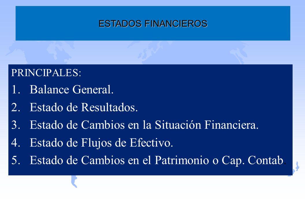 PRINCIPALES: 1.Balance General. 2.Estado de Resultados. 3.Estado de Cambios en la Situación Financiera. 4.Estado de Flujos de Efectivo. 5.Estado de Ca
