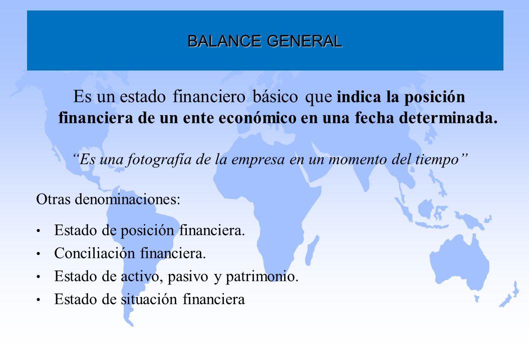 Es un estado financiero básico que indica la posición financiera de un ente económico en una fecha determinada. Es una fotografía de la empresa en un