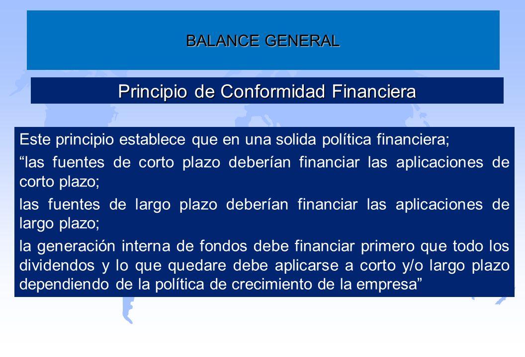 BALANCE GENERAL Principio de Conformidad Financiera Este principio establece que en una solida política financiera; las fuentes de corto plazo debería