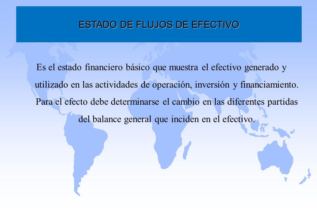 Es el estado financiero básico que muestra el efectivo generado y utilizado en las actividades de operación, inversión y financiamiento. Para el efect