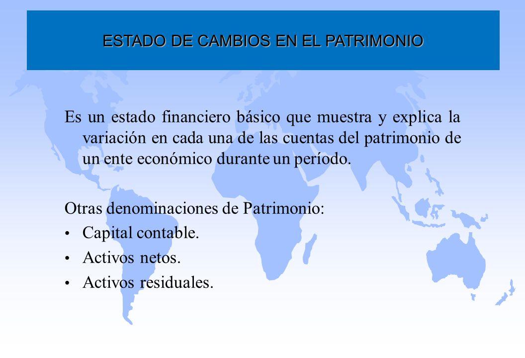 Es un estado financiero básico que muestra y explica la variación en cada una de las cuentas del patrimonio de un ente económico durante un período. O