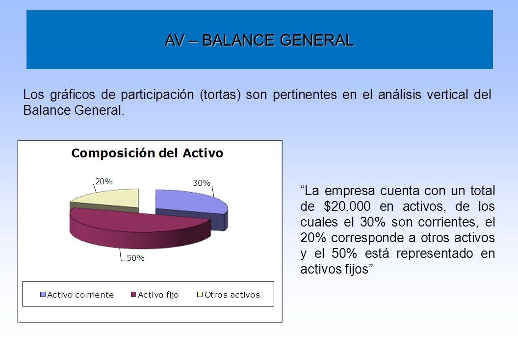 AV – BALANCE GENERAL Los gráficos de participación (tortas) son pertinentes en el análisis vertical del Balance General. La empresa cuenta con un tota