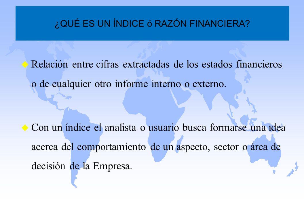 u Relación entre cifras extractadas de los estados financieros o de cualquier otro informe interno o externo. u Con un índice el analista o usuario bu
