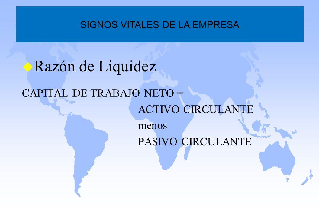 u Razón de Liquidez CAPITAL DE TRABAJO NETO = ACTIVO CIRCULANTE menos PASIVO CIRCULANTE SIGNOS VITALES DE LA EMPRESA