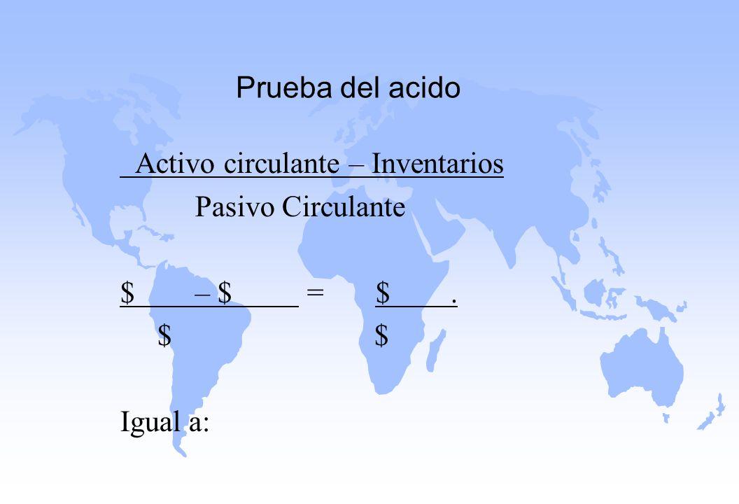 Prueba del acido Activo circulante – Inventarios Pasivo Circulante $ – $ = $. $ $ Igual a: