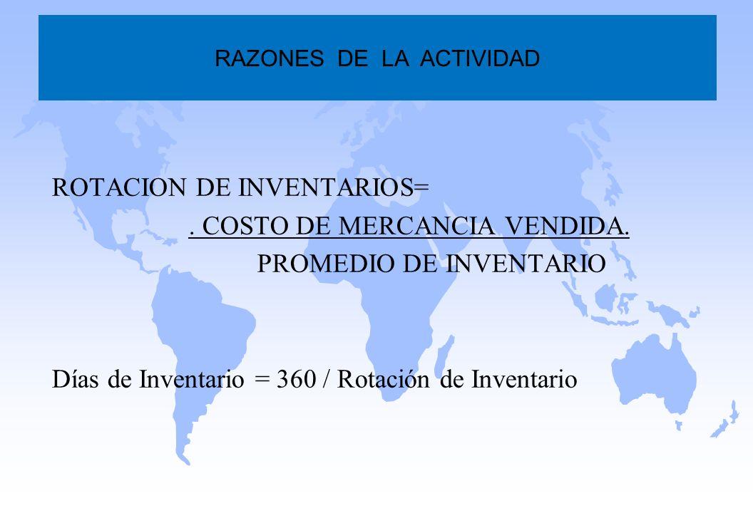 ROTACION DE INVENTARIOS=. COSTO DE MERCANCIA VENDIDA. PROMEDIO DE INVENTARIO Días de Inventario = 360 / Rotación de Inventario RAZONES DE LA ACTIVIDAD