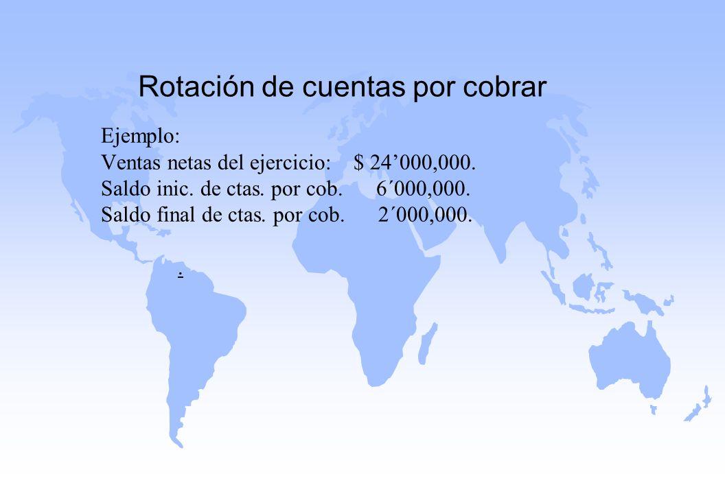 Rotación de cuentas por cobrar Ejemplo: Ventas netas del ejercicio: $ 24000,000. Saldo inic. de ctas. por cob. 6´000,000. Saldo final de ctas. por cob