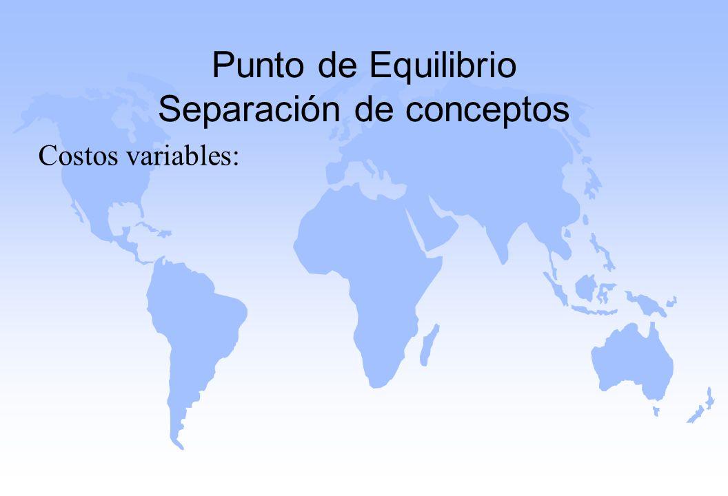 Punto de Equilibrio Separación de conceptos Costos variables:
