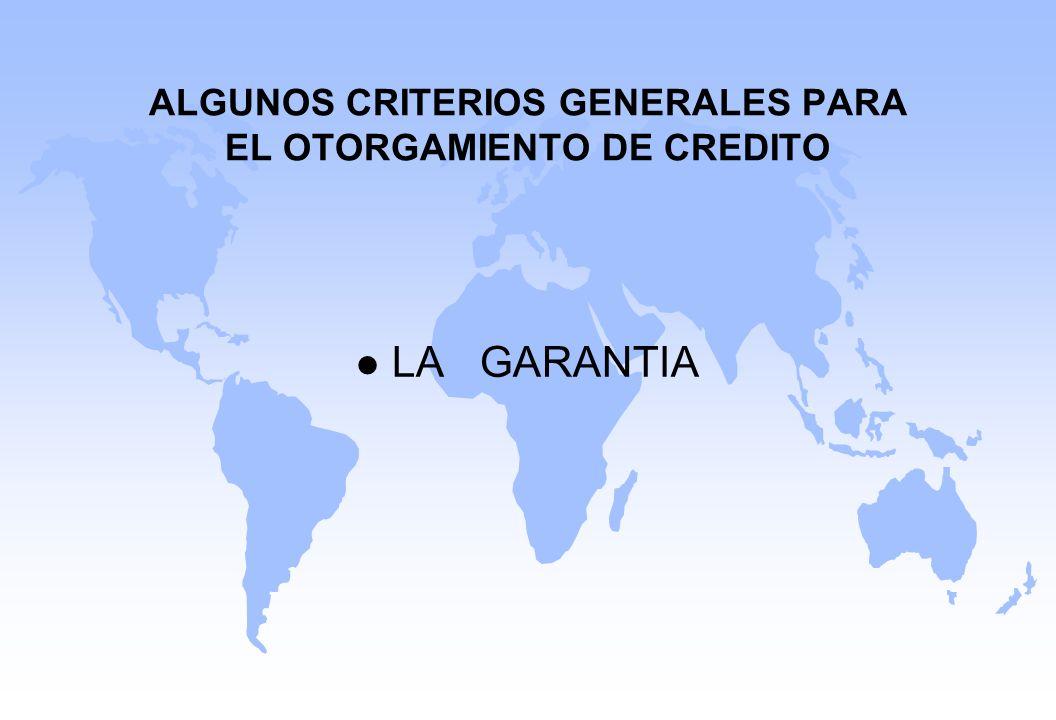 ALGUNOS CRITERIOS GENERALES PARA EL OTORGAMIENTO DE CREDITO l LA GARANTIA