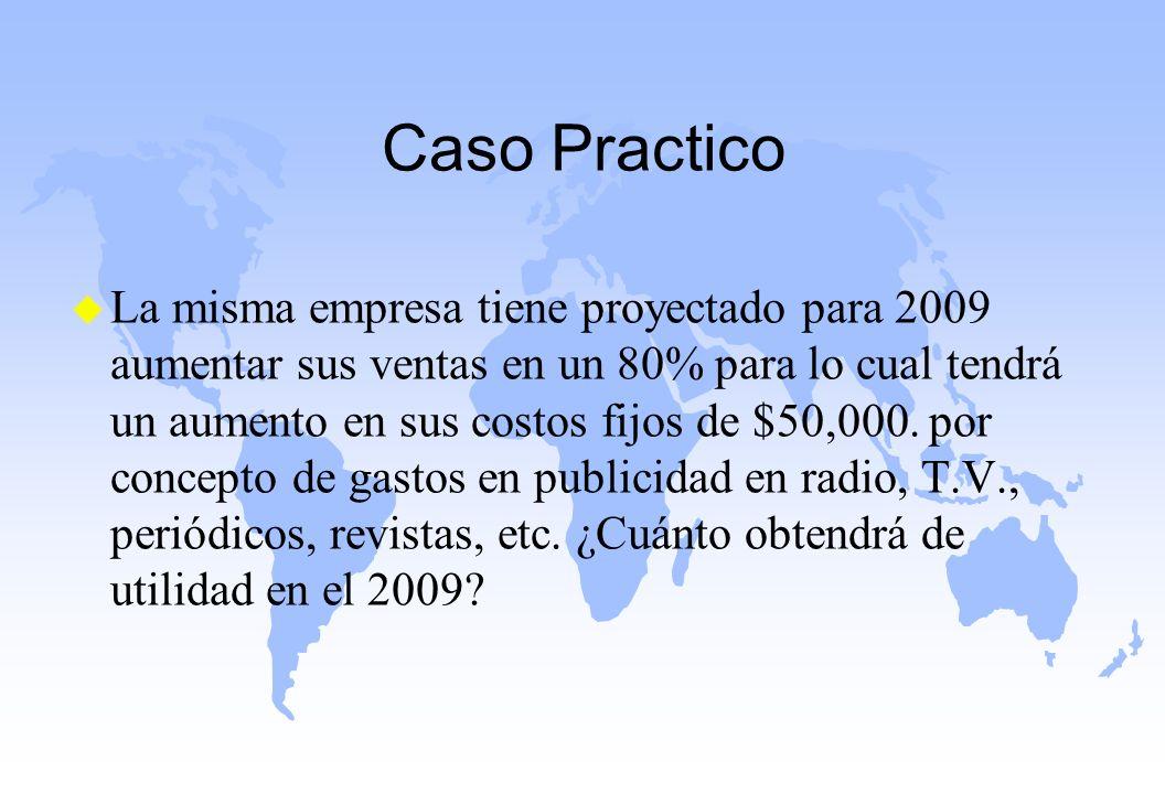 Caso Practico u La misma empresa tiene proyectado para 2009 aumentar sus ventas en un 80% para lo cual tendrá un aumento en sus costos fijos de $50,00