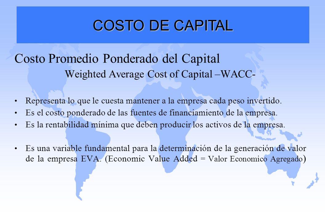 Costo Promedio Ponderado del Capital Weighted Average Cost of Capital –WACC- Representa lo que le cuesta mantener a la empresa cada peso invertido. Es