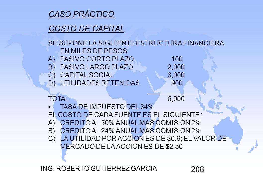 ING. ROBERTO GUTIERREZ GARCIA 208 CASO PRÁCTICO COSTO DE CAPITAL SE SUPONE LA SIGUIENTE ESTRUCTURA FINANCIERA EN MILES DE PESOS A)PASIVO CORTO PLAZO 1