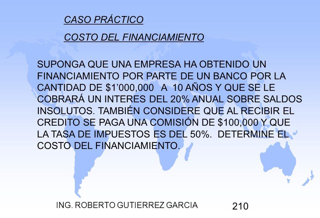 ING. ROBERTO GUTIERREZ GARCIA 210 CASO PRÁCTICO COSTO DEL FINANCIAMIENTO SUPONGA QUE UNA EMPRESA HA OBTENIDO UN FINANCIAMIENTO POR PARTE DE UN BANCO P