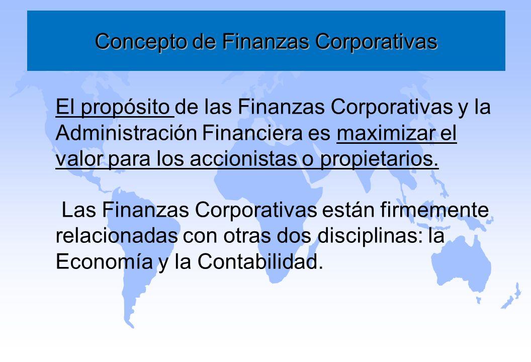 Concepto de Finanzas Corporativas El propósito de las Finanzas Corporativas y la Administración Financiera es maximizar el valor para los accionistas