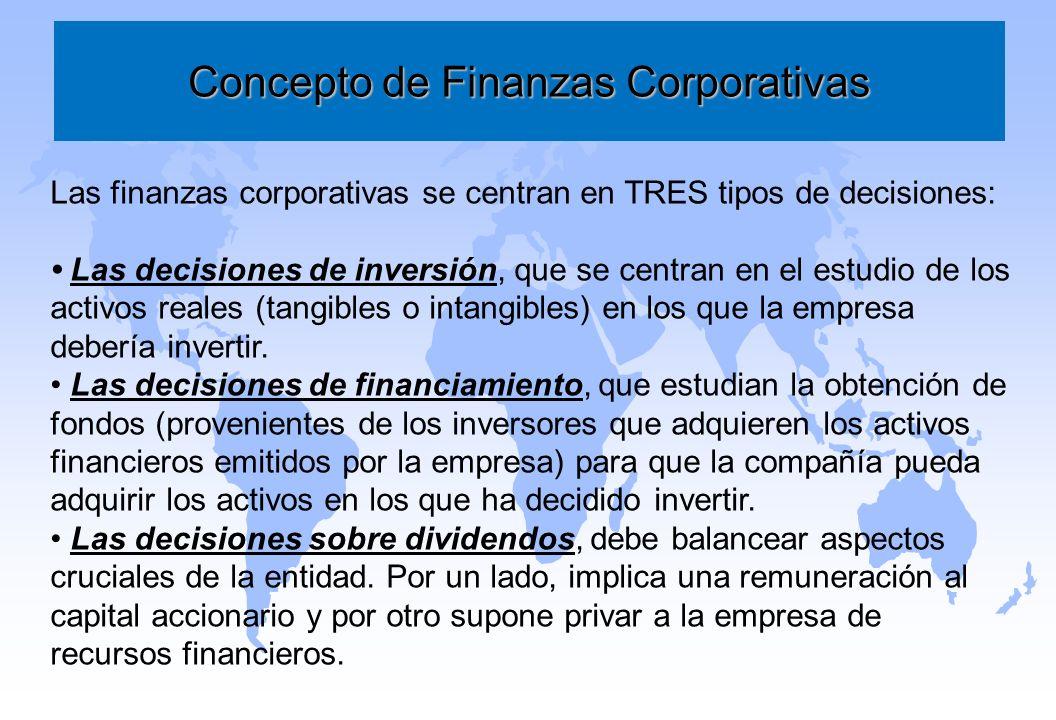 Concepto de Finanzas Corporativas Las finanzas corporativas se centran en TRES tipos de decisiones: Las decisiones de inversión, que se centran en el