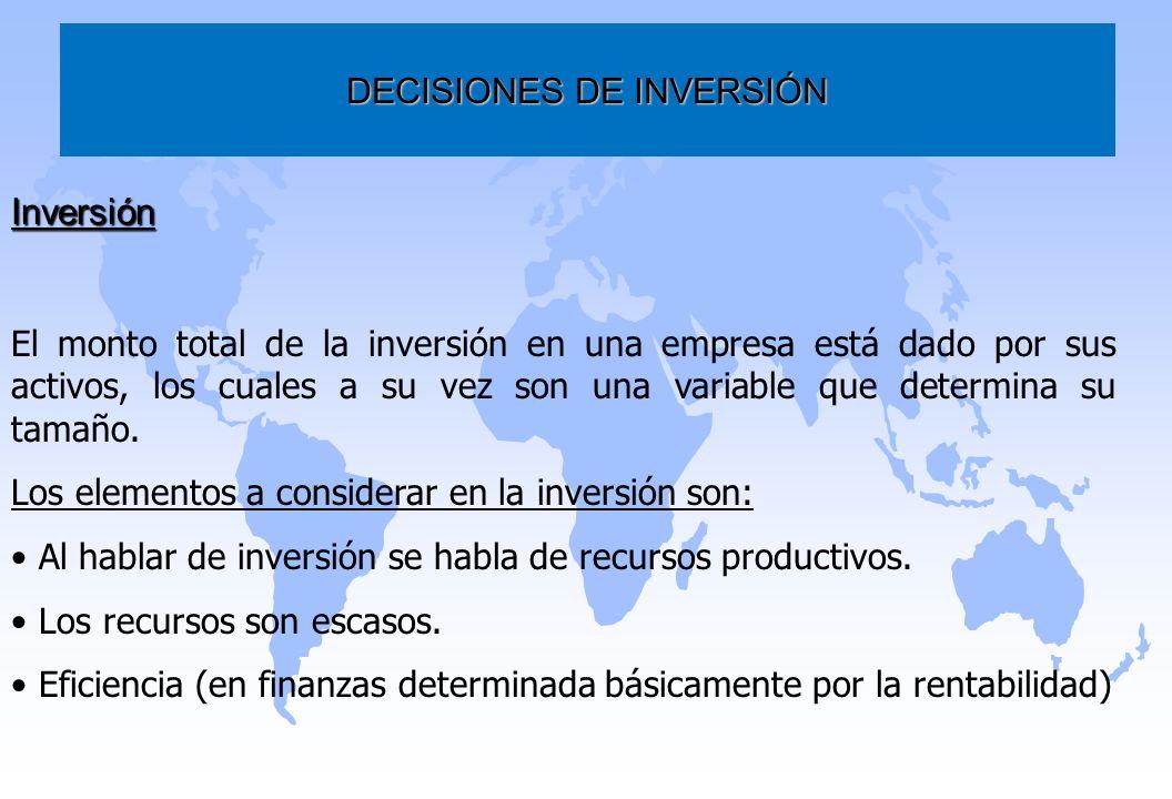 DECISIONES DE INVERSIÓN Inversión El monto total de la inversión en una empresa está dado por sus activos, los cuales a su vez son una variable que de