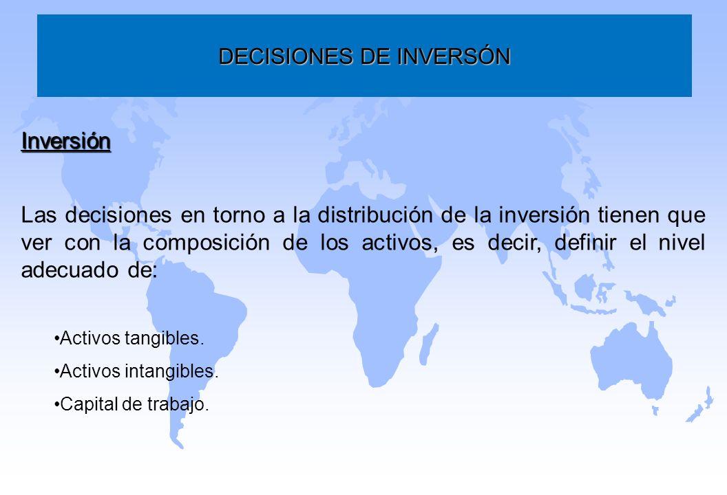 DECISIONES DE INVERSÓN Inversión Las decisiones en torno a la distribución de la inversión tienen que ver con la composición de los activos, es decir,