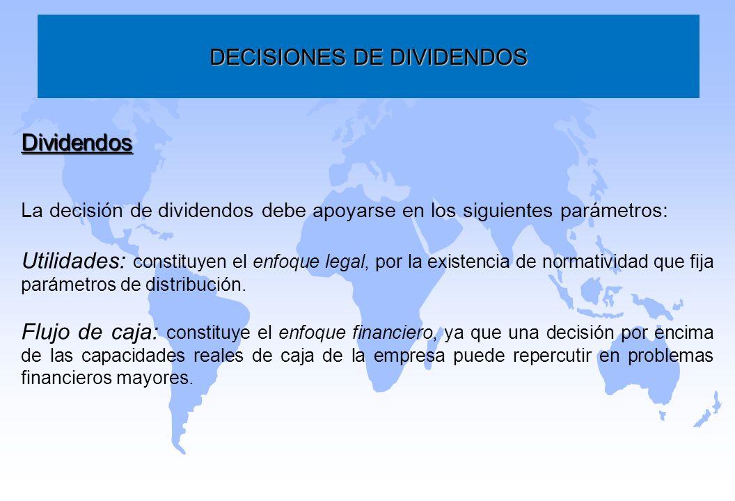 DECISIONES DE DIVIDENDOS Dividendos La decisión de dividendos debe apoyarse en los siguientes parámetros: Utilidades: constituyen el enfoque legal, po