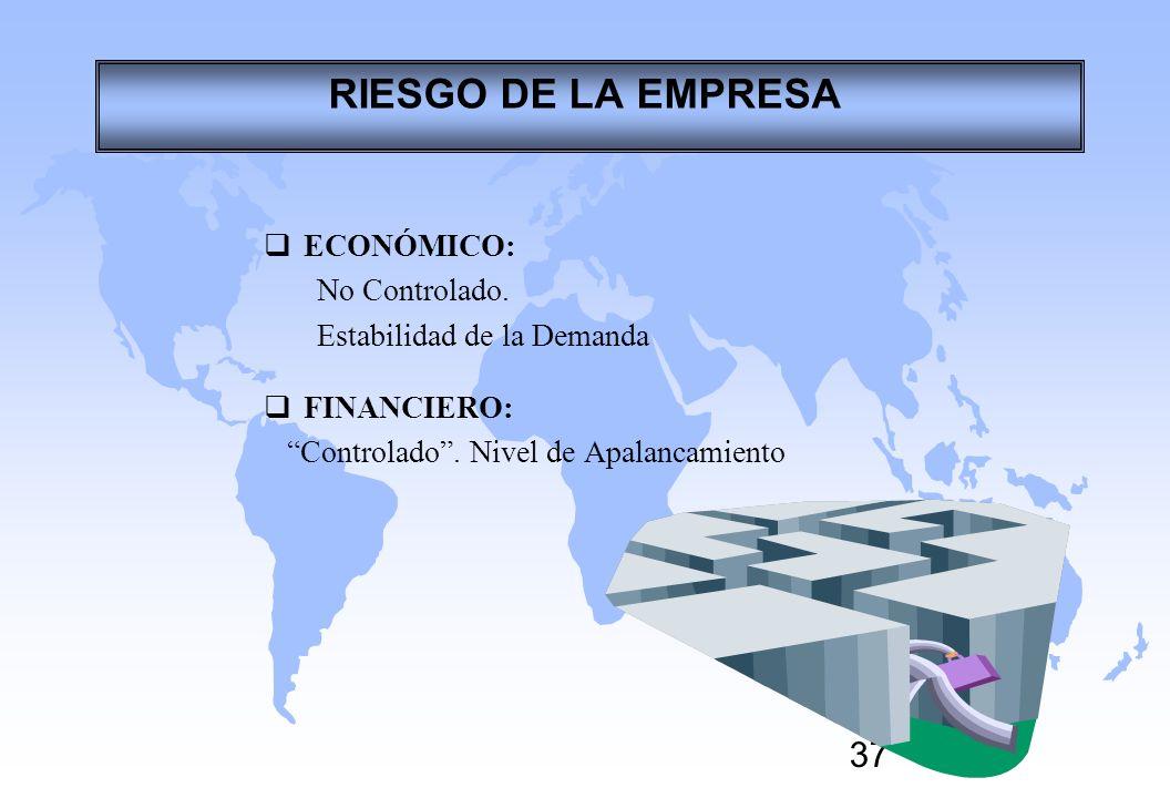 37 ECONÓMICO: No Controlado. Estabilidad de la Demanda FINANCIERO: Controlado. Nivel de Apalancamiento RIESGO DE LA EMPRESA