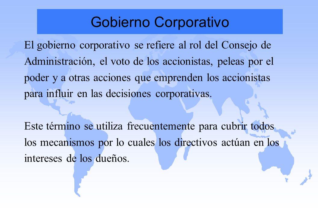 Gobierno Corporativo El gobierno corporativo se refiere al rol del Consejo de Administración, el voto de los accionistas, peleas por el poder y a otra