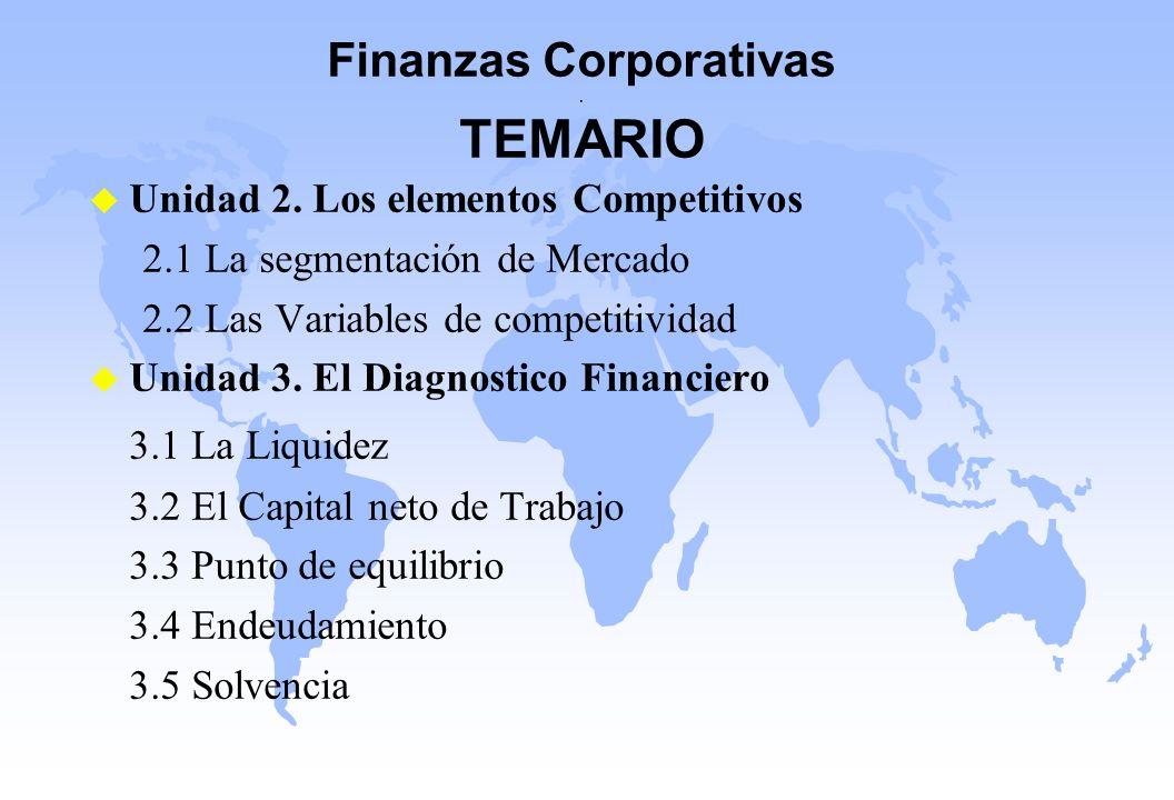 Finanzas Corporativas. TEMARIO u Unidad 2. Los elementos Competitivos 2.1 La segmentación de Mercado 2.2 Las Variables de competitividad u Unidad 3. E