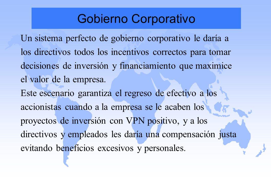 Gobierno Corporativo Un sistema perfecto de gobierno corporativo le daría a los directivos todos los incentivos correctos para tomar decisiones de inv